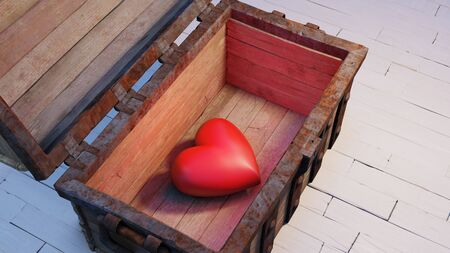 View of a very big and chubby red heart inside an old wood with rusty metal Chest opened and put on a white wood floor Banque d'images - 137876334