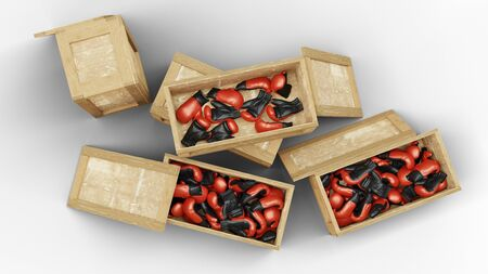 Top view of Five Wood Transport Box with Three opened and full of Boxing Gloves with a white background