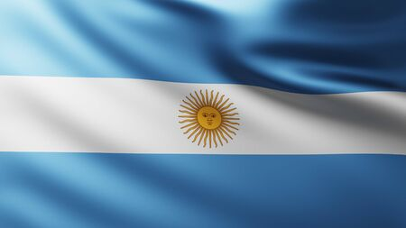 Large Flag of Argentina background in the wind with wave patterns Banco de Imagens