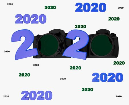 Many 2020 titles with two photo camera on a white background