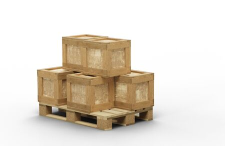 Different size of transport box stacked on a wood pallet with a white background