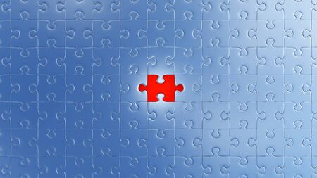 One Large Red piece of puzzle in place in the center of many other pieces with a white background