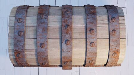 Top view and close-up of an old wood with rusty metal Chest closed put on a white wood floor Banco de Imagens