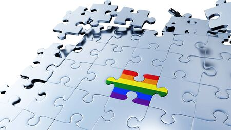 Large Rainbow piece of puzzle almost inserted between lots of Silver Puzzle Pieces in a mess with a white background