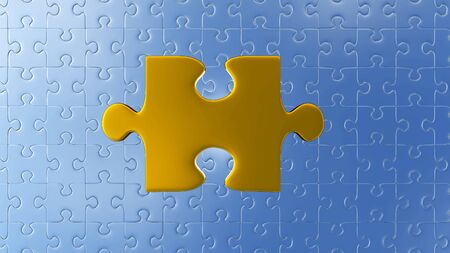 Very Large Gold piece of puzzle above of lots of other pieces with a white background Banco de Imagens