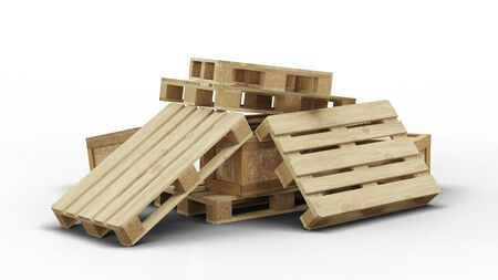 Few wood pallets and transport box stacked in disorder with a white background