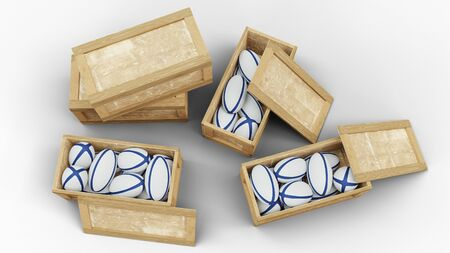 Top view of Wood Transport Box where Three are full of Boxing Gloves with a white background Foto de archivo