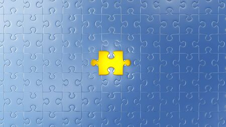 One Large Gold piece of puzzle almost in its place in the center of lots of other pieces with a white background