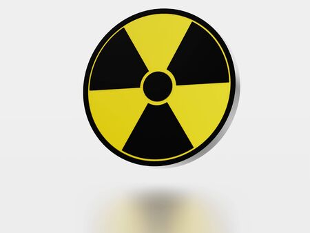 Large Radioactive Symbol with a reflecting floor and a white background