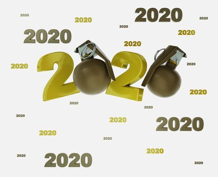 Many Military Hand Grenade 2020 Titles with a White Background