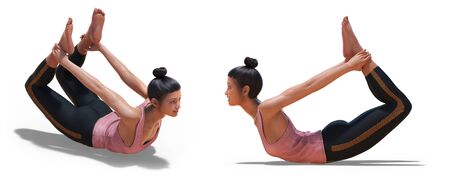Front three-quarters and Left Profile Poses of a Virtual Woman in Yoga Bow Pose with a white background Banco de Imagens