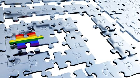 Several silver puzzle pieces placed soon with a Rainbow piece between them with a white background
