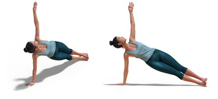 Front three-quarters and Left Profile Poses of a virtual Woman in Yoga Side Plank Pose with a white background