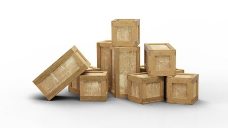 Some closed wood transport box with different size put in a jumble on the floor with a white background
