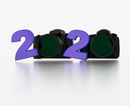 Reflex Camera 2020 Title with a white background Banco de Imagens