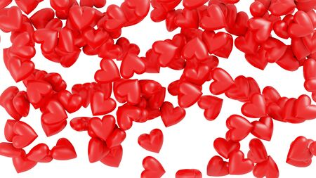 Many large and sweet Red Hearts in Chaos with a White Background Banco de Imagens