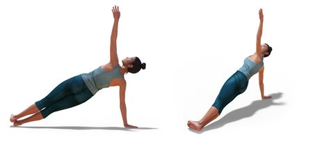 Back three-quarters and Right Profile Poses of a virtual Woman in Yoga Side Plank Pose with a white background Banco de Imagens