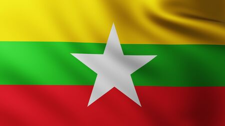 Large Flag of Myanmar background in the wind with wave patterns Banco de Imagens