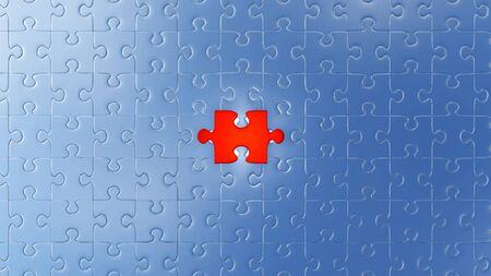 One Large Red piece of puzzle almost in its place in the center of many other pieces with a white background
