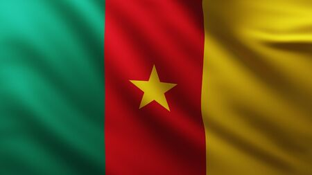 Large Flag of Cameroon background in the wind with wave patterns
