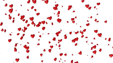 Many Small Red Hearts in Disorder with a White Background Banco de Imagens