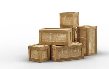 Several closed wood transport box with different size put in a mess on the floor with a white background Banco de Imagens