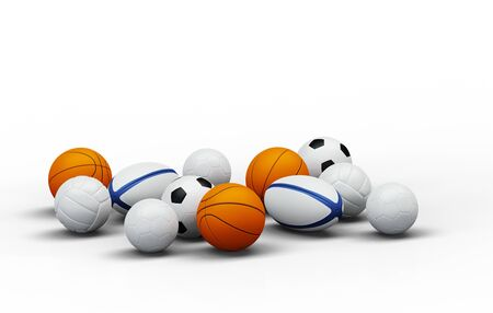 Front view of several team sport balls with a white background