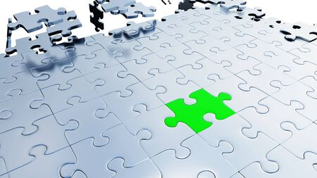 Large Green piece of puzzle inserted between many Silver Puzzle Pieces with a white background Banco de Imagens