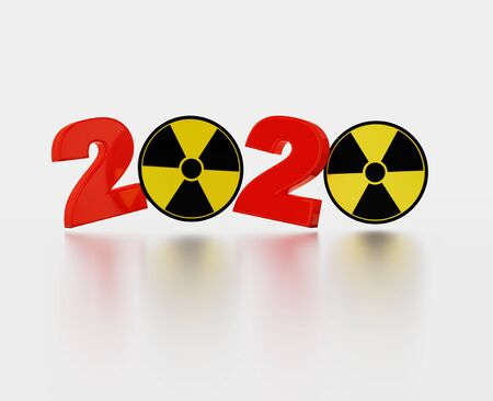 Radioactive Symbol 2020 Title with a White Background Banco de Imagens
