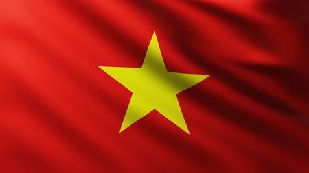 Large Flag of Vietnam background in the wind with wave patterns