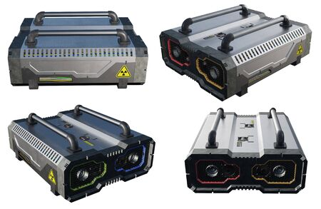 SciFi Nuclear Power Battery with 4 angles of view on a white background