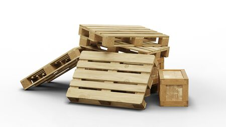 Chaotic wood pallets and transport box heap with a white background