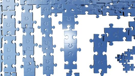 Top View of Several puzzle pieces placed soon with a white background