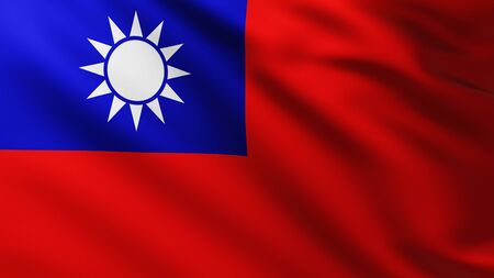 Large Flag of Taiwan fullscreen background in the wind with wave patterns