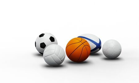 Front view of Five team sport balls with a white background Banco de Imagens