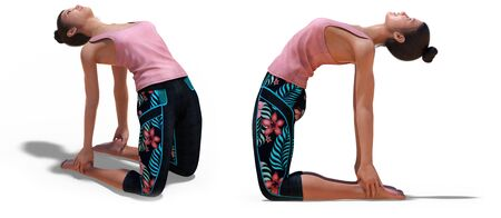 Front three-quarters and Left Profile Poses of a Virtual Woman in Yoga Camel Pose with a white background Banco de Imagens