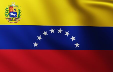 Large Flag of Venezuela background in the wind with wave patterns