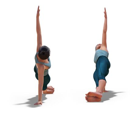 Front and Back Poses of a virtual Woman in Yoga Side Plank Pose with a white background Banco de Imagens