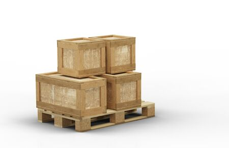 Different size of transport box straight stacked on a wood pallet with a white background