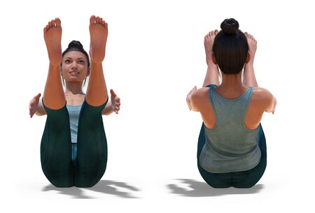 Front and Back Poses of a virtual Woman in Yoga Boat Pose with a white background