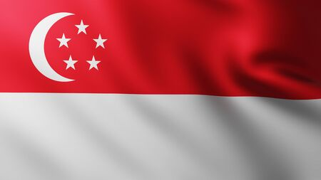 Large Flag of Singapore fullscreen background in the wind with wave patterns Banco de Imagens