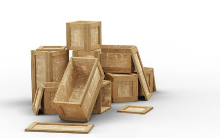 Few opened wood transport box with different size put in chaos on the floor with a white background Banco de Imagens