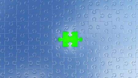 One Large Green piece of puzzle almost in its place in the center of many other pieces with a white background