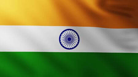 Large Flag of India fullscreen background in the wind with wave patterns
