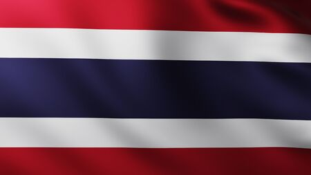 Large Flag of Thailand fullscreen background in the wind with wave patterns