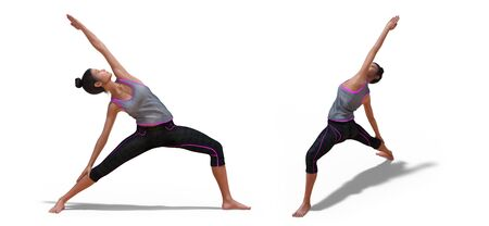 Back and Right Profile Poses of a virtual Woman in Yoga Reverse Warrior Pose with a white background