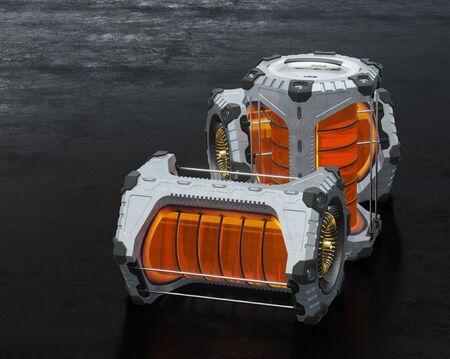 Side view of Three SciFi Hexagonal Batteries put on a dark floor
