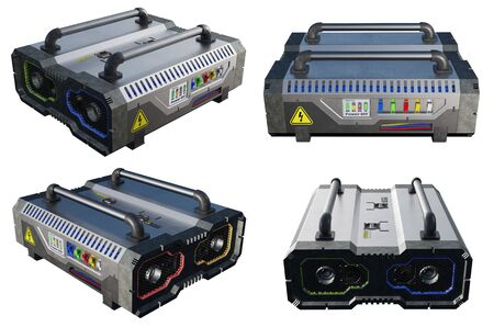 SciFi Electric Power Battery in 4 angles of view with a white background Banco de Imagens