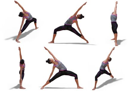 Virtual Woman in Yoga Reverse Warrior Pose with 6 angles of view on a white background