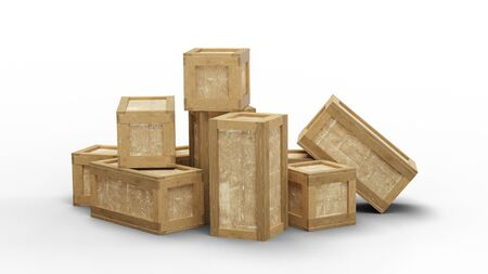 Several closed wood transport box with different size put in a jumble on the floor with a white background Banco de Imagens